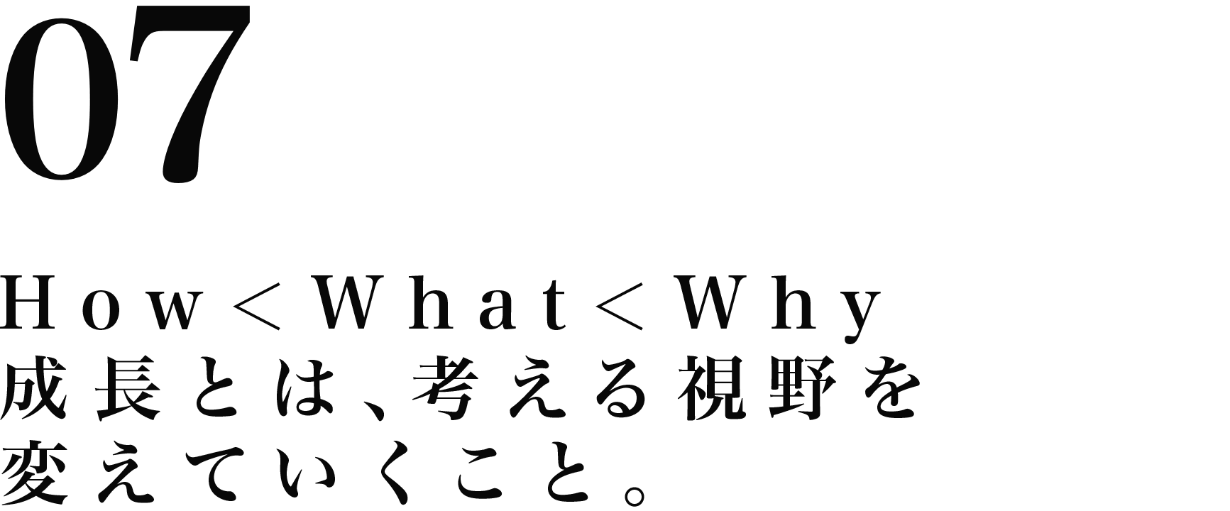 How<What<Why成長とは、考える視野を変えていくこと。